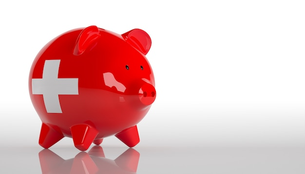 Piggy bank with switzerland flag. 3d rendering