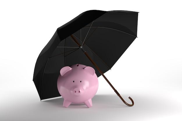 傘のコンセプトの貯金箱。 3dレンダリング