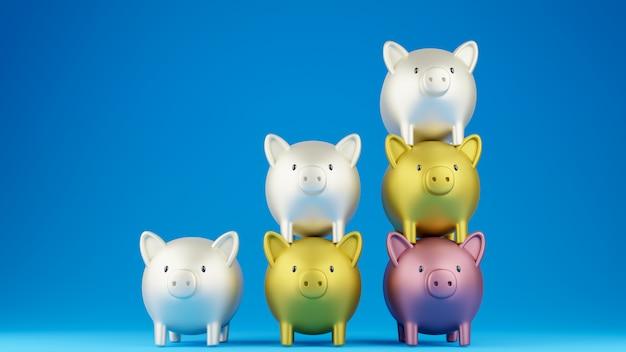 Piggy banks in column