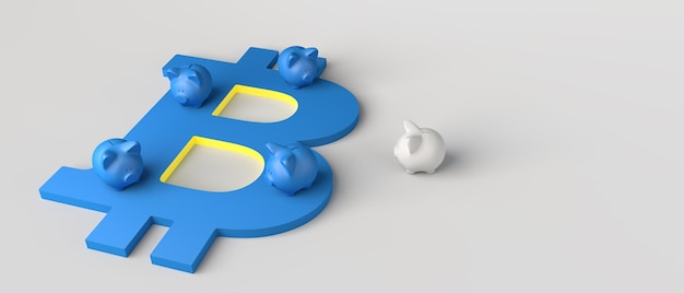 Bitcoin 기호 위에 돼지 저금통. 3d 그림입니다.