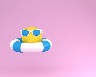 Piggy banks with blue pool float and sunglasses