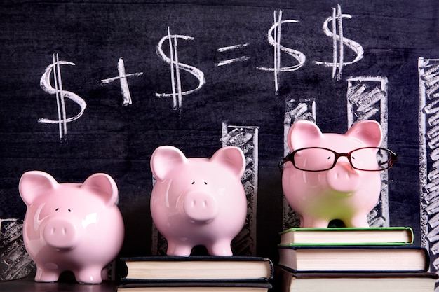 Piggy banks with savings formula