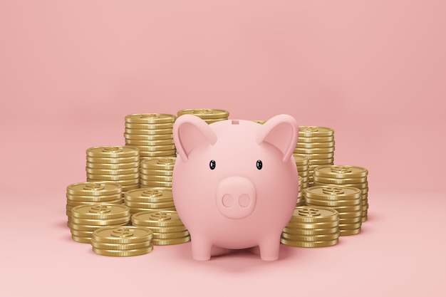 Piggybankとピンクの背景の黄金の1ドル硬貨