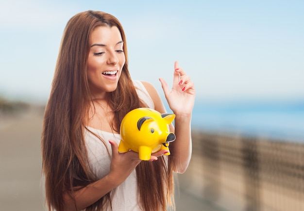 Piggybank happy laughing cash business