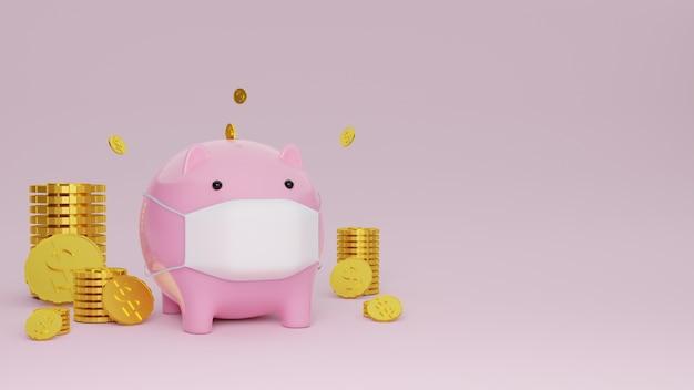 ピンクの背景にお金と保護マスクを身に着けている貯金箱の豚