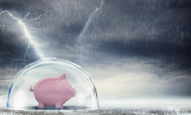 폭풍 동안 구 안에 안전하게 piggybank. 위기로부터 이익 보호