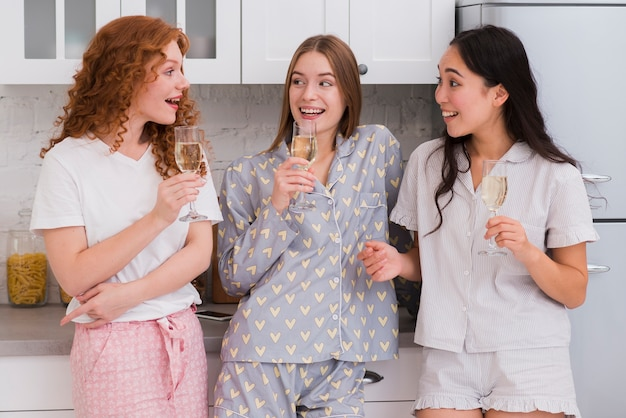 Pijama party at home with drinks