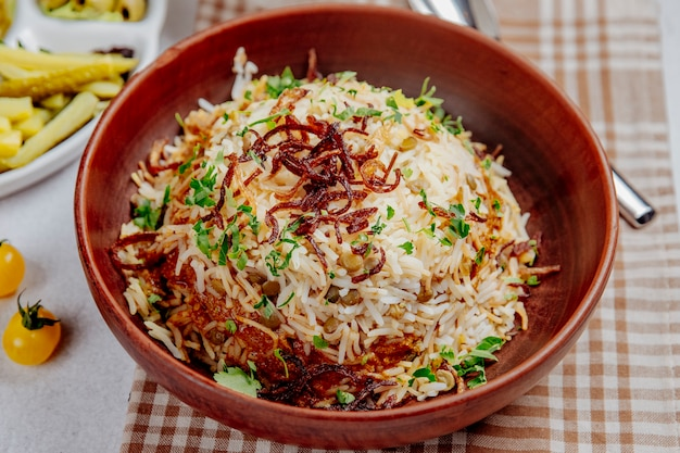 Pilaf with beans and fried onions