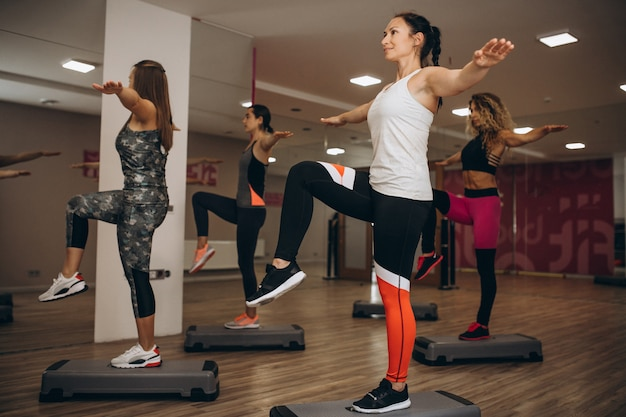 Pilates group working out in a gym