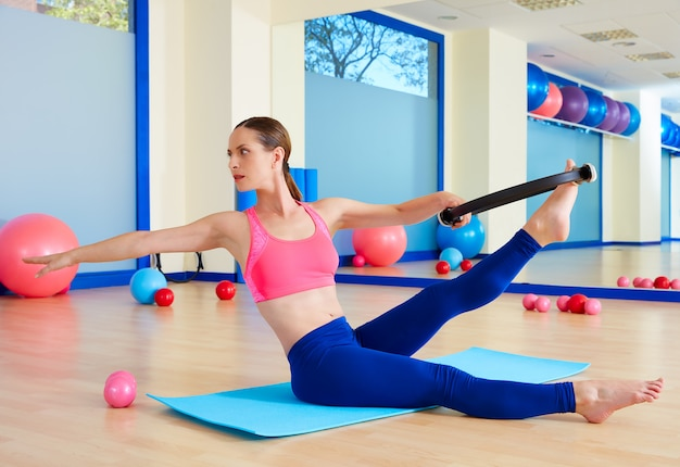Pilates woman twist magic ring exercise workout