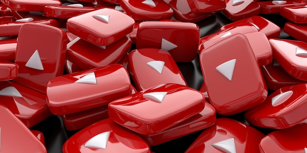 Pile of 3d play button logos free photo