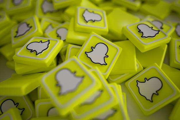 Pile of 3d snapchat logos