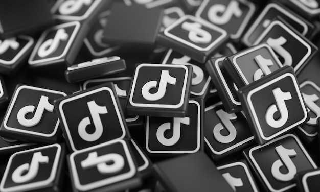 Pile of 3d tiktok logos