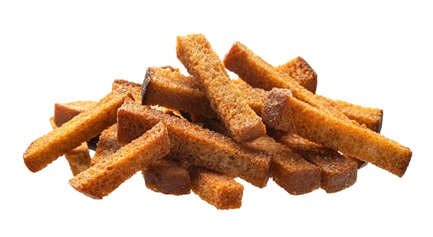 Pile of alted crispy bread sticks isolated on white background