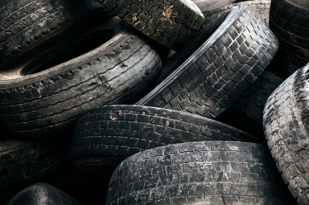 Pile of big used tires at a dump
