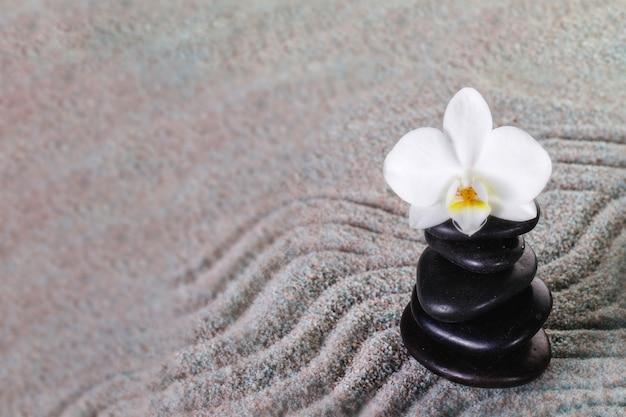 Mucchio di pietre nere con orchidee in cima