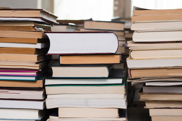 Pile of books on a bookstore