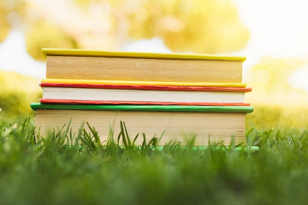 Pile of books on grass at sunlight