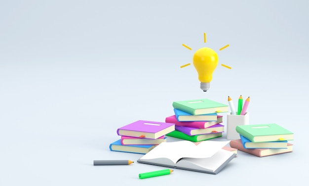 A pile of books pencils learning indicates an educational story light bulb represents an idea