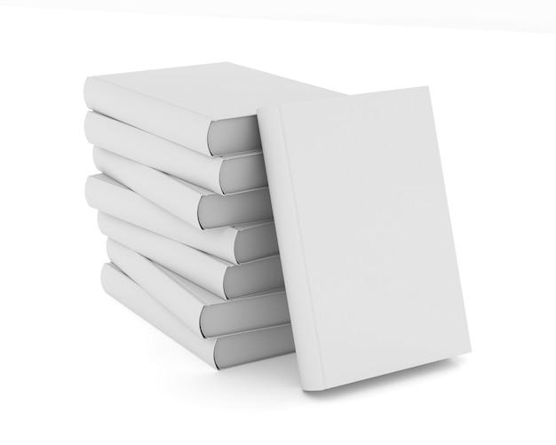 Pile books on white