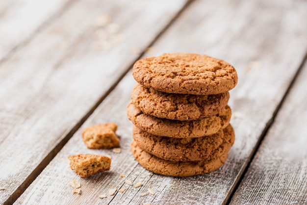 Pile of british cookies on wooden background
