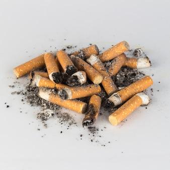 Pile cigarette stub ashes butts