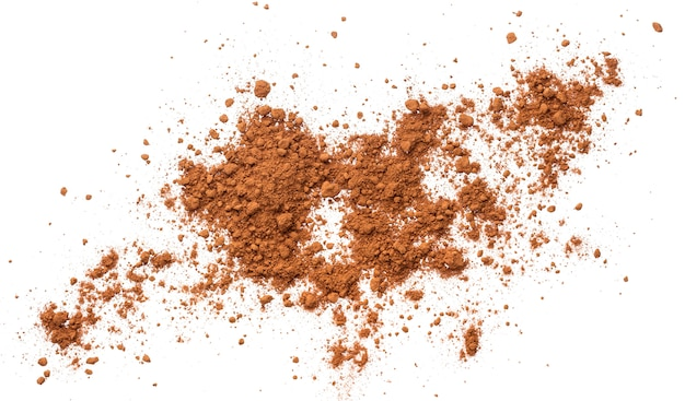 Pile cocoa powder isolated. top view