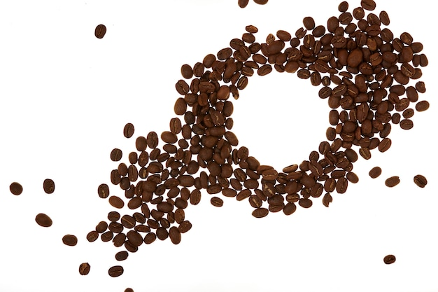 Pile of coffee beans white