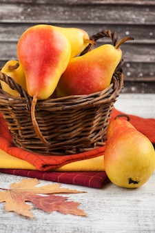 Pile of colorful cloth with pears