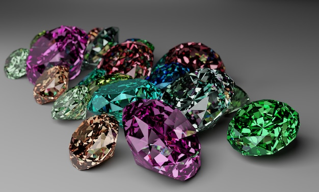 A pile of colorful diamond on white background.