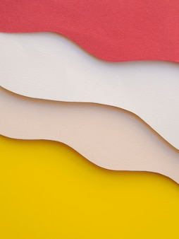 Pile of colourful abstract paper waves