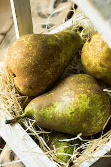 Pile of conference pears in wooden box on straw
