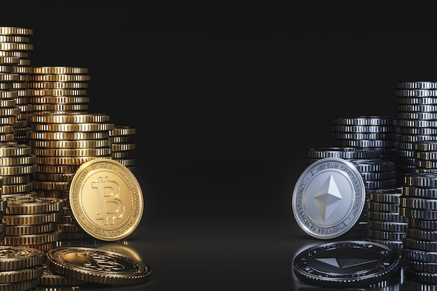 A pile of cryptocurrency coins between bitcoin (btc) and ethereum (eth) in a black scene, digital currency coin for financial, token exchange promoting. 3d rendering