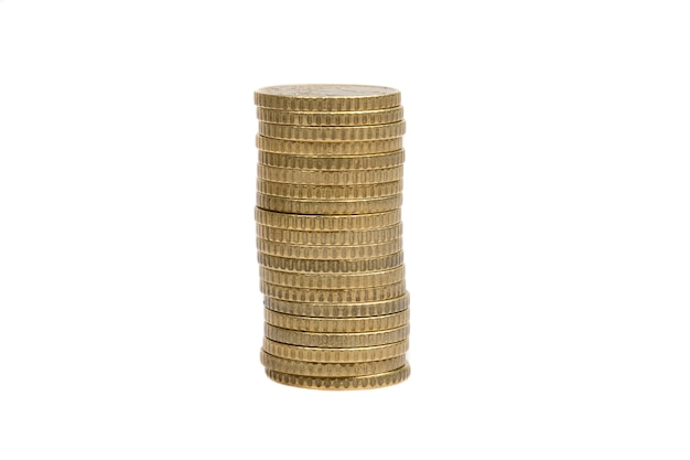 Pile of currency on a over white background