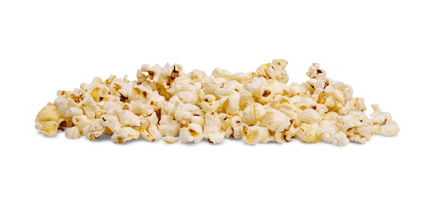 Pile of delicious popcorn isolated on white background.