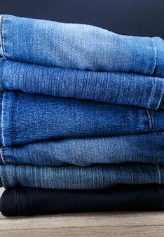 Pile of denim pants
