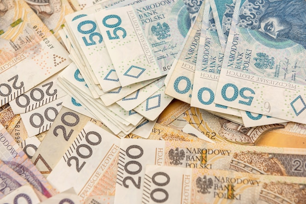 Pile of different polish money. close up. financial concept