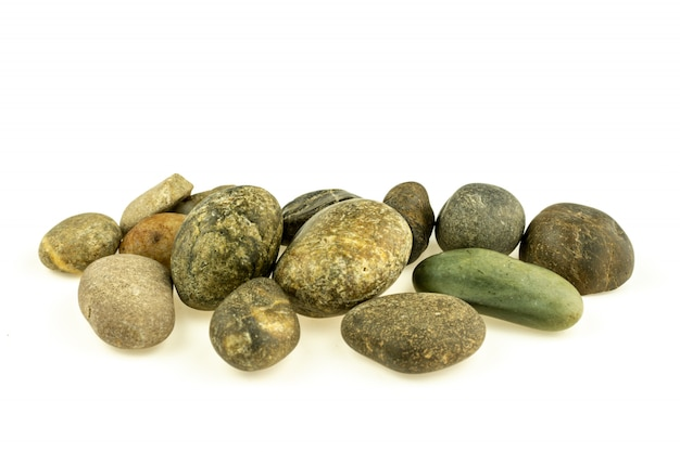 Pile of a different stones and pebbles isolated