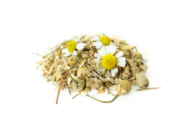 Pile of dried chamomile isolated on white