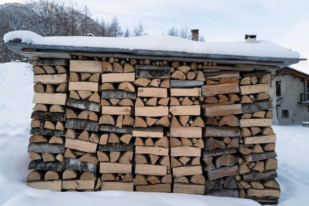 Pile of dry chopped fire wood in alp mountain
