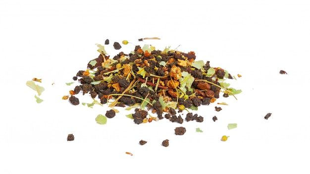 Pile of earl grey black tea on white background