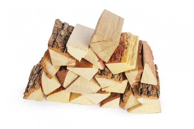 Pile of firewood isolated on white