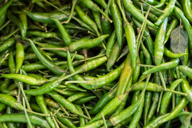 Pile of fresh organic green chilli at the local market