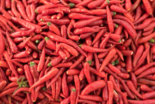 Pile of fresh organic red chilli at the local market