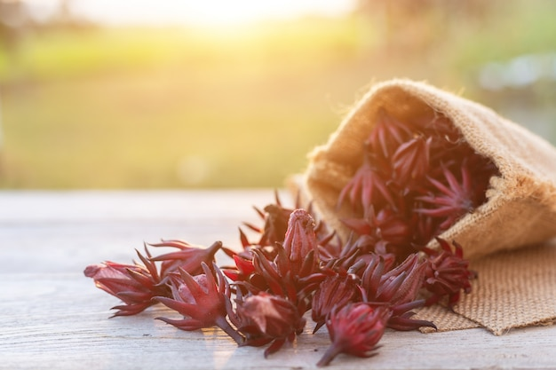 Pile of fresh red roselle on wooden table with sunset