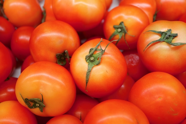 Pile of fresh ripe vibrant red tomatoes at the market