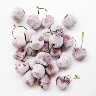Pile of frozen cherries