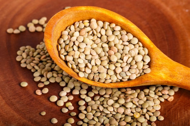 Pile of green lentils in a wooden spoon on brown background