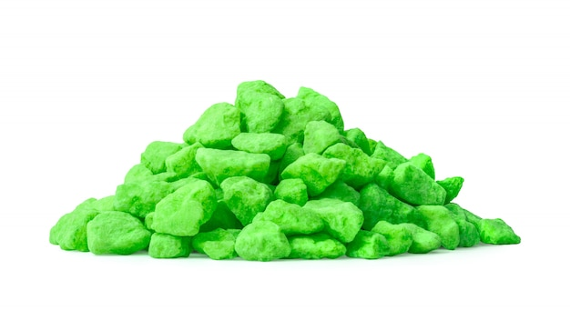 Pile of green stone isolated on white background.
