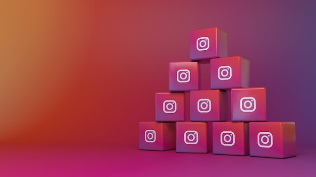 Pile of instagram cube logos over colorful gradient background
